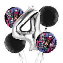 Monster High 4th Birthday Balloon Bouquet 5pc