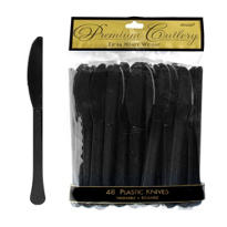 Black Premium Plastic Knives 48ct