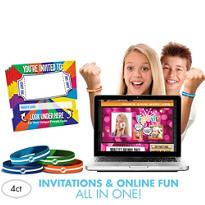 Brights Invite Bandz Party Invitation Wristbands Add-On Pack for 4