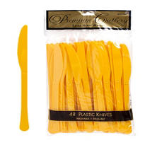 Sunshine Yellow Premium Plastic Knives 48ct