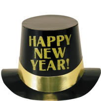 Gold and Black Happy New Year Top Hat 5in