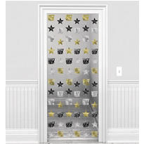 Gold & Silver Stars New Years String Decorations 7ft 6ct