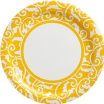 Sunshine Yellow Ornamental Scroll Party Supplies