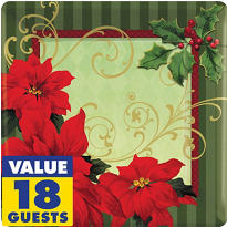 Vintage Poinsettia Party Supplies
