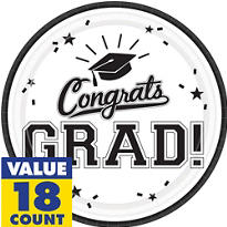 White Congrats Grad Graduation Party Supplies