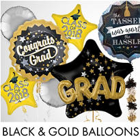 Black, Gold & Silver Graduation Balloons