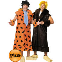 Plus Size Fred Flintstone and Plus Size Barney Rubble Flintstones Couples Costumes