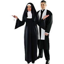 Plus Size Holy Sister Nun and Plus Size Priest Couples Costumes