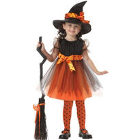 Toddler Girls Orange Charmed Witch Costume