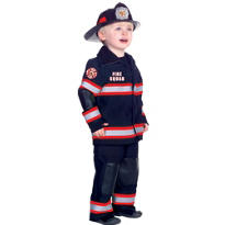 Toddler Boys Black Fireman Costume Deluxe