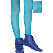 Child Neon Blue Fishnet Tights
