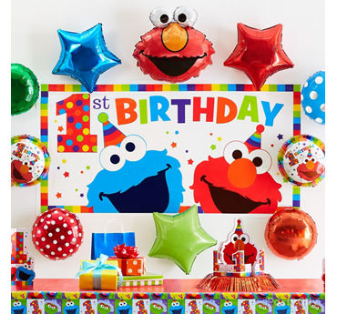Elmo First Birthday Balloon Wall Idea