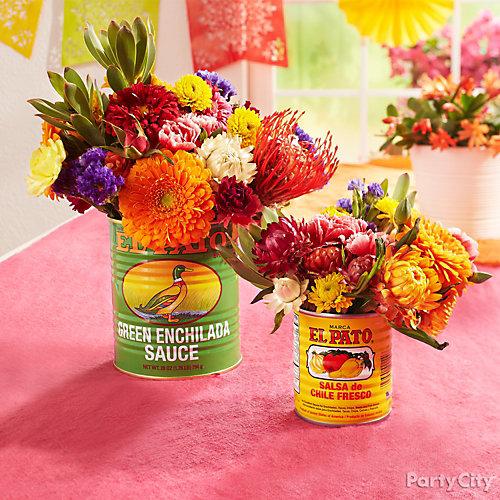 Flowers in a Can Centerpiece Idea