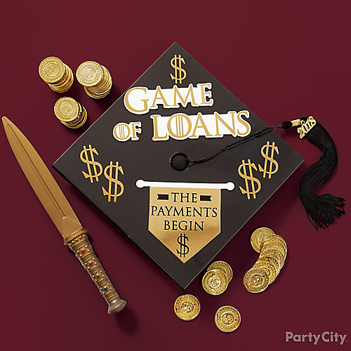 Game of Loans Parody Grad Cap Decorating Idea