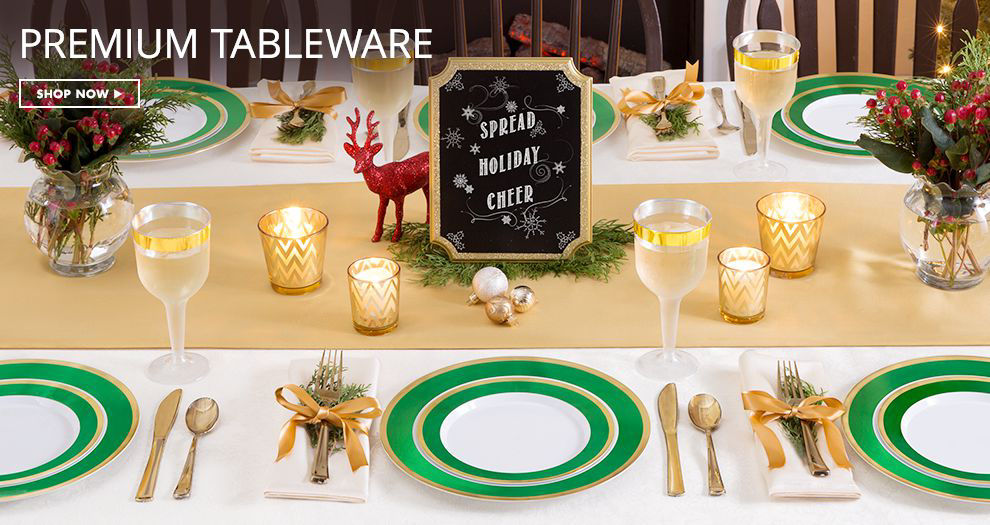 Shop Now Green and Gold Premium Border Tableware