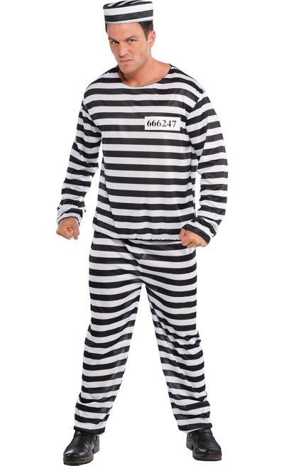 Mens Deluxe Convict Costume Black /& White Striped Prisoner Inmate