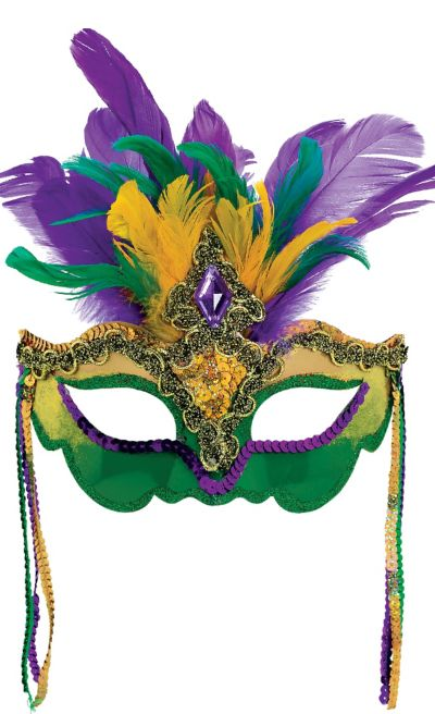 Feather Black Mask Mardi Gras Masquerade Costume Party Sequins NEW!
