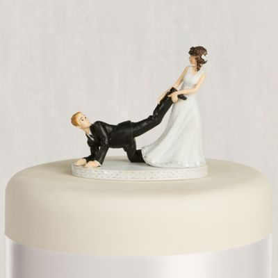 wedding cake toppers bride and groom with dog leg puller amp groom wedding cake topper 4in city 26419