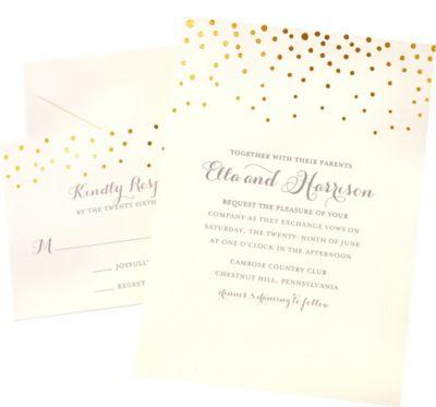 Metallic gold dot printable wedding invitations kit 50ct for Gold foil wedding invitations canada