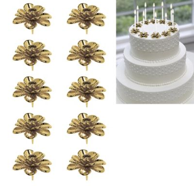 gold wedding cake toppers party city gold flower candle holder cake toppers 10ct city 14839