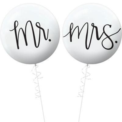 "18/"" HEART SHAPED FOIL BALLOON /""MR /& MRS/"" WEDDING CELEBRATION"
