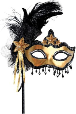 Venetian Party Masquerade Face Mask Black /& Silver With Feathers NEW