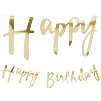 happy birthday letters for him metallic gold happy birthday letter banner 5ft 11553