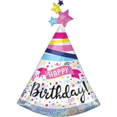 Giant Prismatic Birthday Hat Balloon 27in X 36in Party City