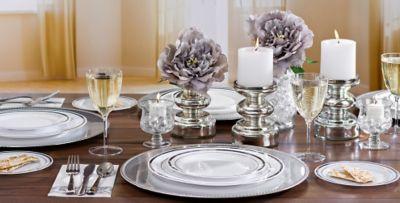 White Silver Premium Tableware & White Silver Premium Tableware | Party City
