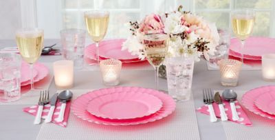 Pink Premium Scalloped Tableware & Pink Premium Scalloped Tableware | Party City