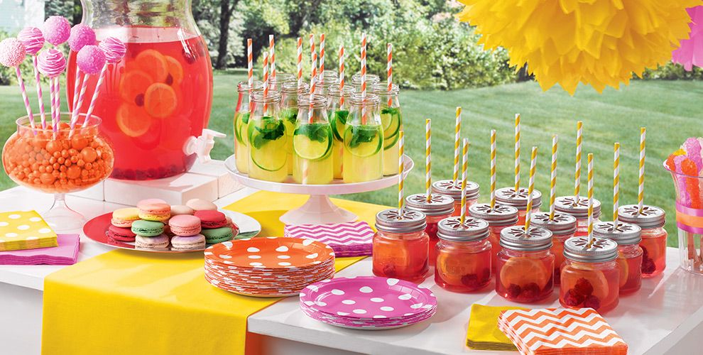 Dots chevron lemonade stand party supplies party city for Summer white party ideas