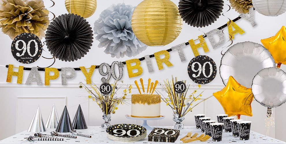Sparkling celebration 90th birthday party supplies party for 90th birthday decoration ideas