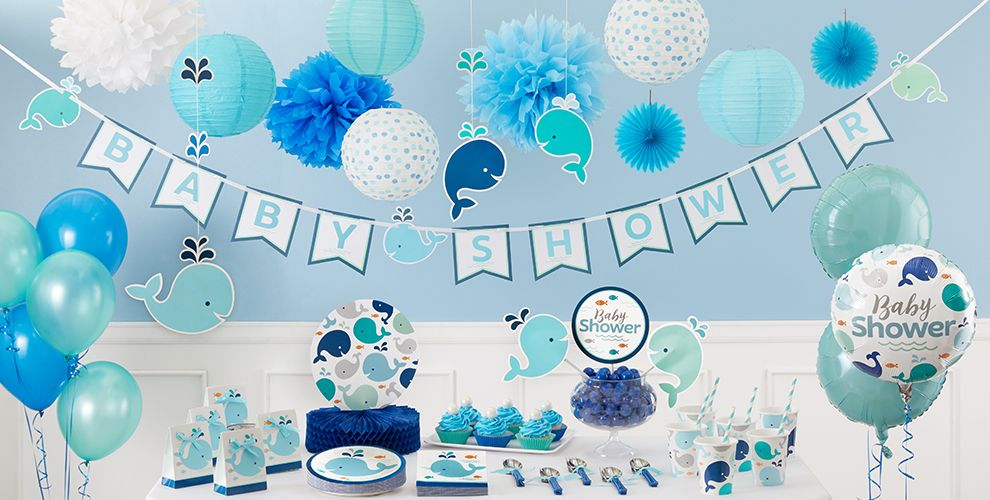 blue baby whale baby shower decorations whale gender. Black Bedroom Furniture Sets. Home Design Ideas
