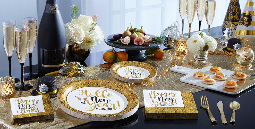 Gold Glitter New Year's Tableware