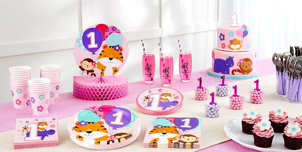 Pink One is Fun 1st Birthday Party Supplies