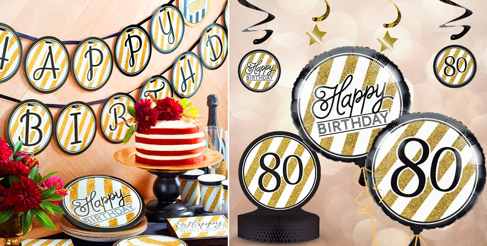 White and Gold Striped 80th Birthday Party Supplies