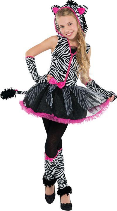 Girls Sassy Stripes Zebra Costume | Party City