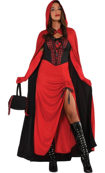 New Womens Adult Red Riding Hood Cape Cloak Storybook Fancy Dress Costume Outfit
