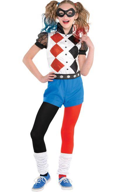 DC SUPER HERO GIRLS HARLEY QUINN Jumpsuit Kids Child Costume SMALL NEW