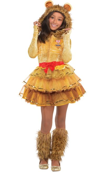 LICENSED COWARDLY LION TWEEN GIRLS WIZARD OF OZ FANCY DRESS UP HALLOWEEN COSTUME