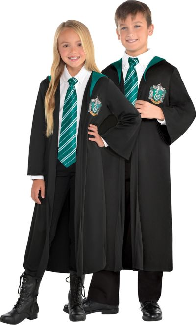 Boys Costume Harry Potter Robe Slytherin Hooded Halloween Wand Outfit 7-12 Years