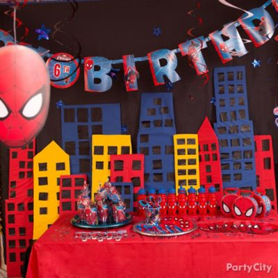 Spider Man Table Cover Cityscape DIY Decorating Ideas Spider Man
