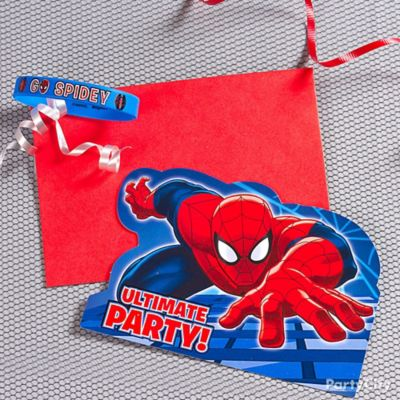Spider Man Invite with Favor Idea Invitation and Thank You Ideas