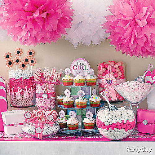 Baby Shower Themes For Girls Pinterest: Girl Baby Shower Treats Table Idea - Party City