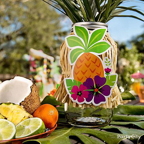 Tropical Luau Mason Jar Centerpiece Idea Luau Raffia