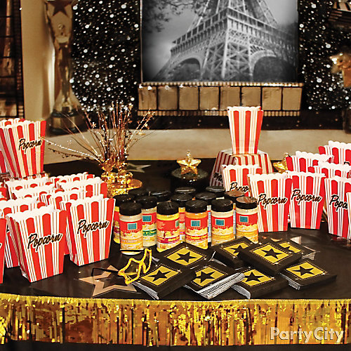 Movie Theater Popcorn Bar Decorating Idea Red Carpet