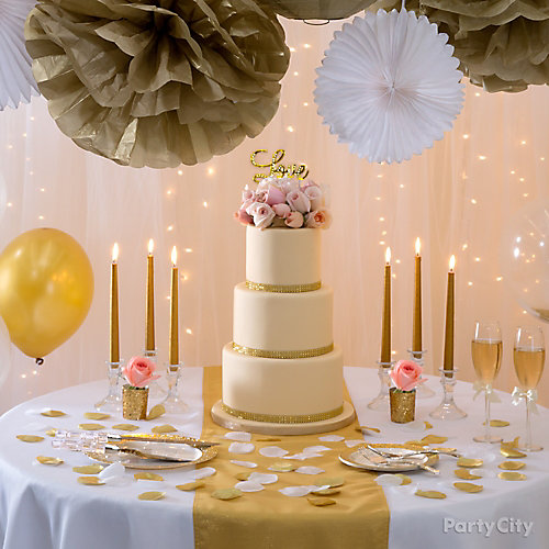 Gold Wedding Cake Decorations: Gold Glam Wedding Cake Table Idea - Party City