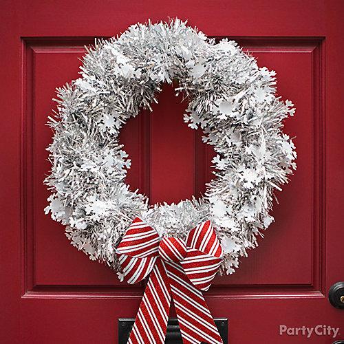 DIY Snowflake Tinsel Wreath