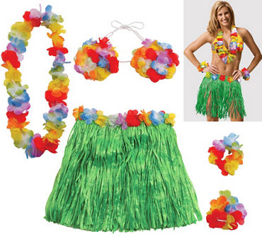 Hula skirts grass skirts party city adult large hula skirt kit 5pc solutioingenieria Choice Image