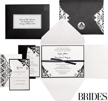 Printable wedding invitations invitation kits party city black white damask printable wedding invitations kit 30ct stopboris Choice Image